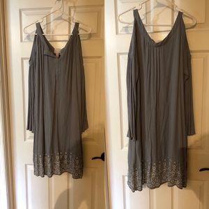 Powder Blue Cold Shoulder Dress w/ White Stitching